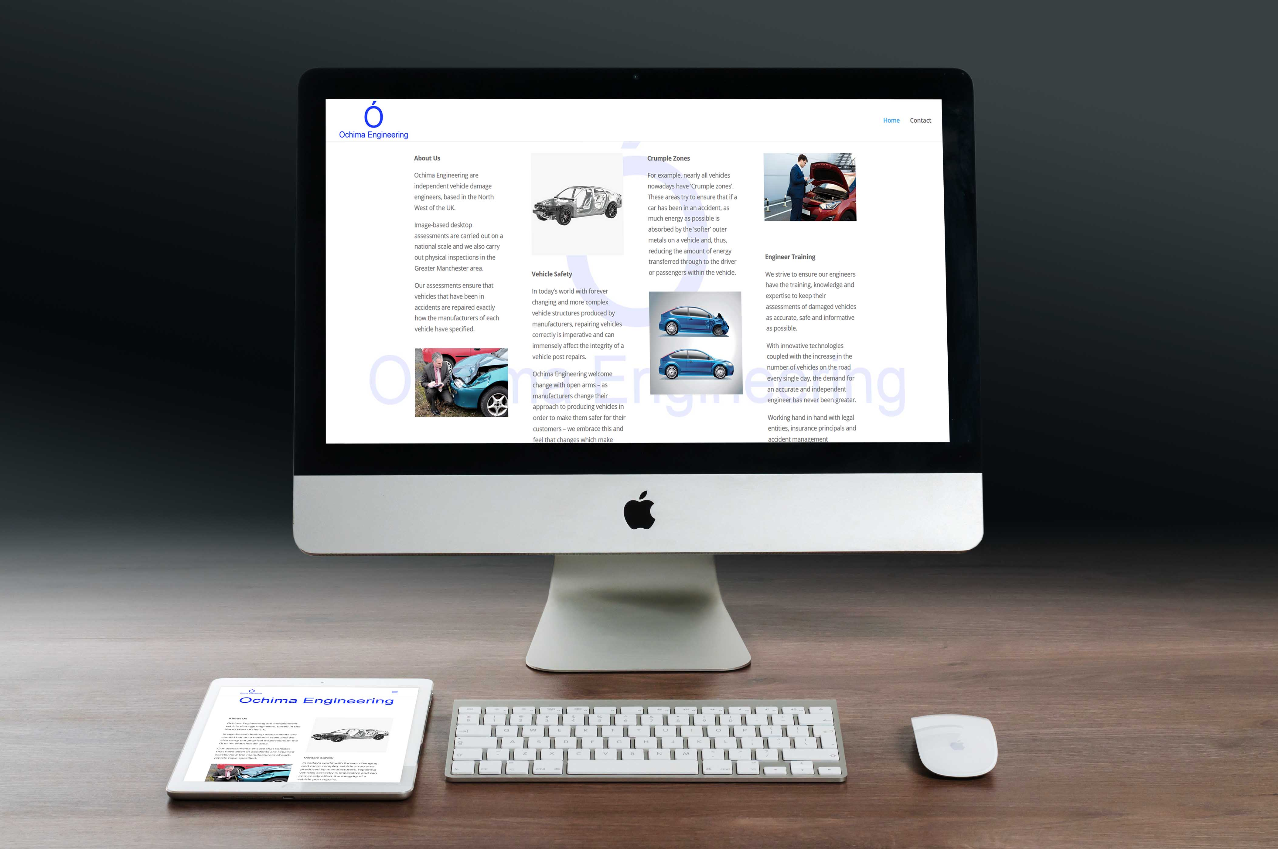 A Mac and a tablet sitting on a wooden table each displaying the same website - ochimaengineering.co.uk