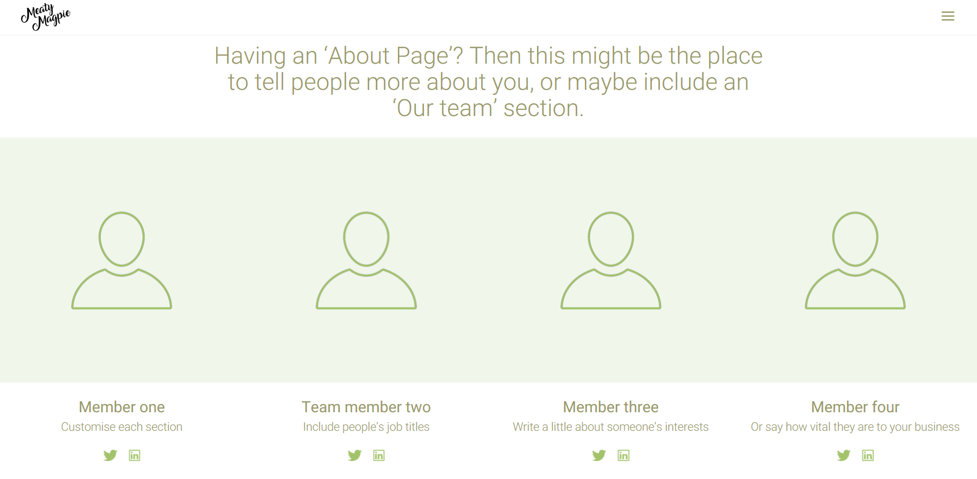 Wireframe of an website about page