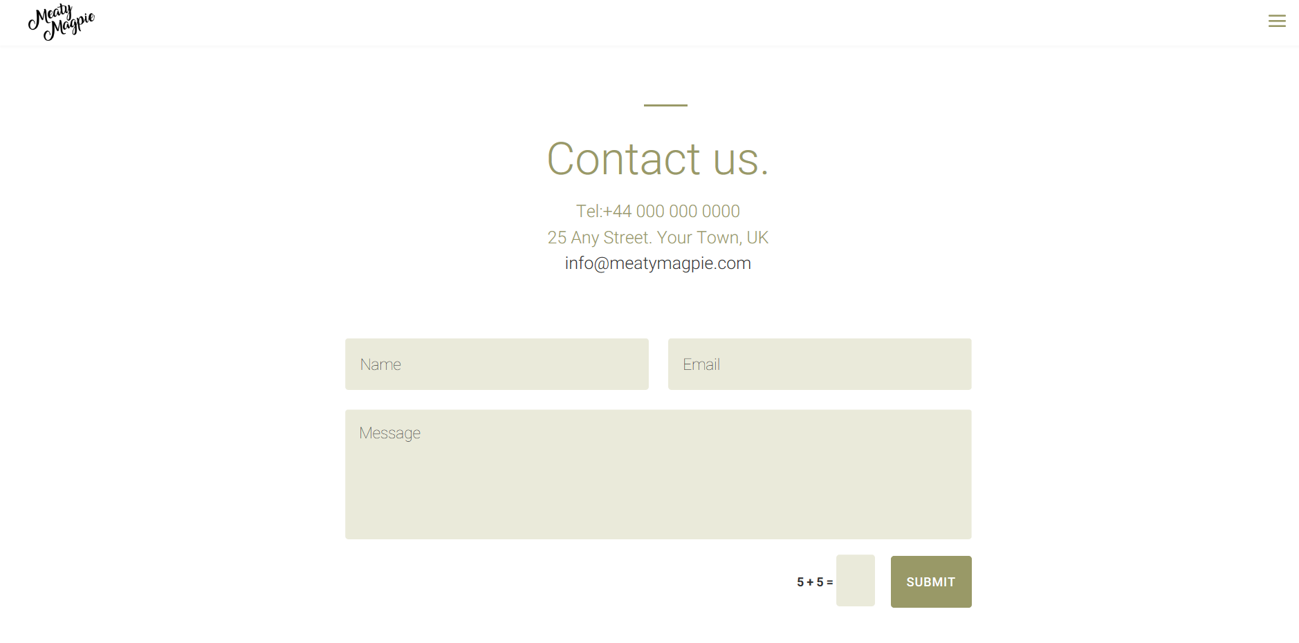 Wireframe of an website contact page